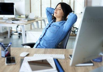 Woman having short break to relax