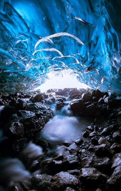 Ice cave texture, Vatnajokull glacier, Iceland