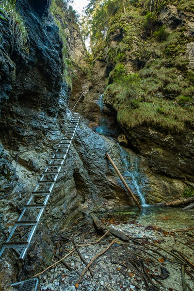 Hiking trail in Sucha Bela gorge in Slovensky raj National park, Slovakia