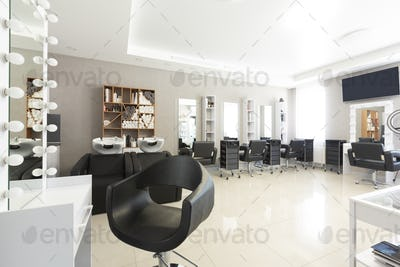 Hairdressing procedures concept. Barber workplace, free space
