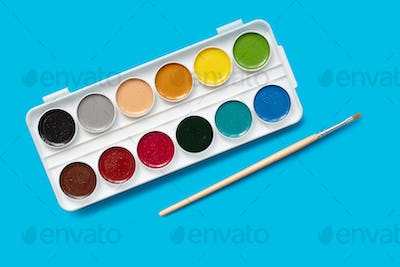watercolor package on a blue background