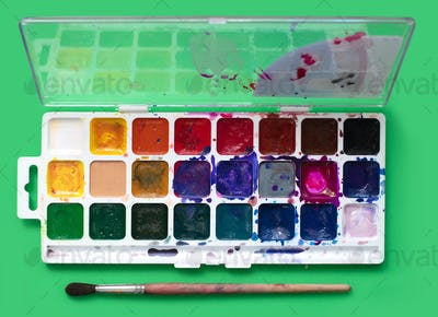 watercolor package on a green background