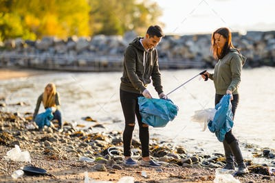 Team of volunteers cleaning beach on sunny day