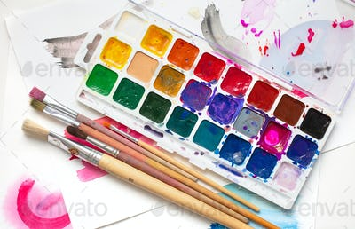 watercolor package and brushes