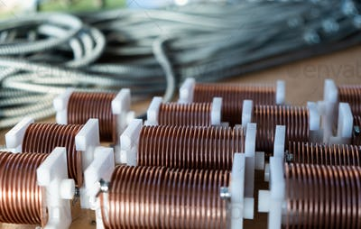 Close-up of twisted copper wire coils