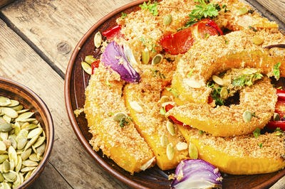 Pumpkin fried with vegetables