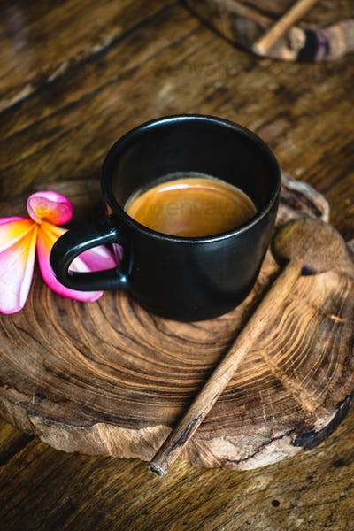 Tropical cup of coffee espresso