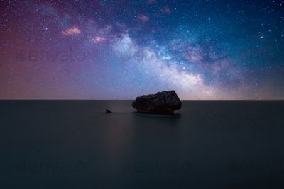 Milky Way & Galaxy Over The Ocean