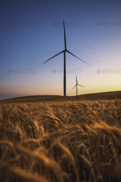 A wind turbine. Electricity wind generator. Renewable energy