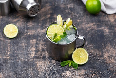 Moscow mule cocktail in mug