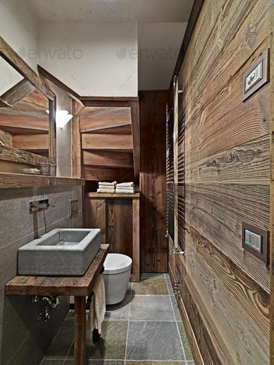Interiors of the Rustic Bathroom