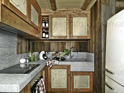 Interiors of a Rustic Kitchen