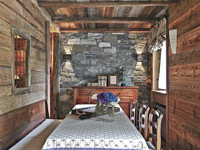 Interiors of a Rustic Dining Room with Old Furniture