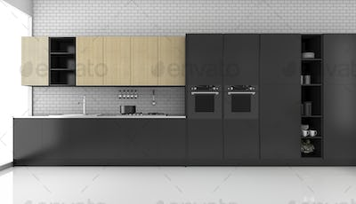 3d rendering black modern loft kitchen with brick wall