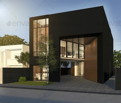 3d rendering minimal black cubic house in summer