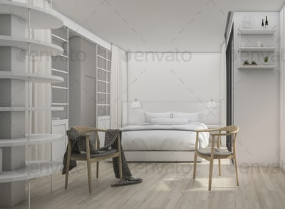 3d rendering white clean modern bedroom with scandinavia chair