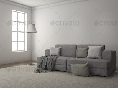 3d rendering daylight from window along the sofa and carpet