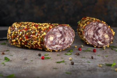 Deer salami with pepper and mustard seeds