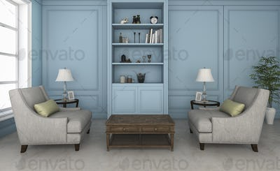 3d rendering blue living room with nice armchair and furniture