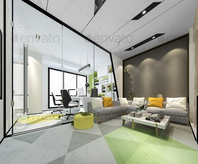 3d rendering business meeting room and executive room