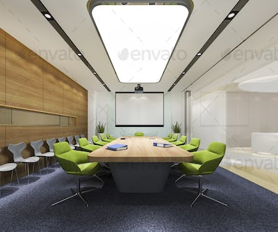 3d rendering business meeting room on high rise office building with green chair