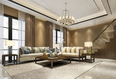 3d rendering vintage luxury classic  wood living room near stair and chandelier high ceiling
