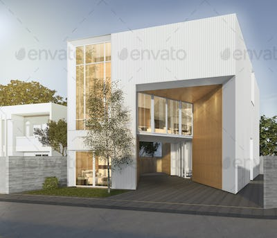 3d rendering white cubic house with modern design