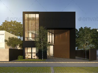 3d rendering black minimal wood and black house