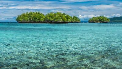 Beautiful Blue Lagoone near Kordiris Homestay, Gam Island, West Papuan, Raja Ampat, Indonesia