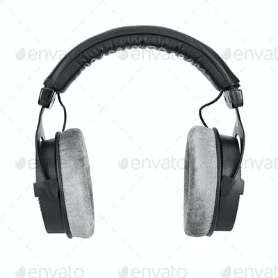 Black studio headphones isolated on white background
