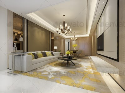 3d rendering modern dining room and yellow living room with luxury decor