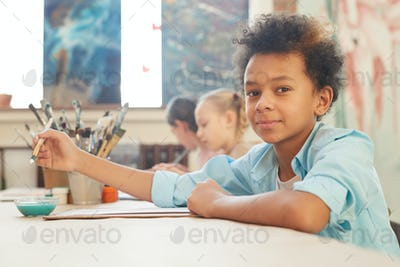 Little boy at art studio