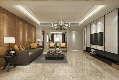 3d rendering luxury and modern yellow sofa in living room with dining zone
