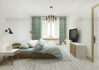 3d rendering green vintage minimal bedroom suite in hotel with tv