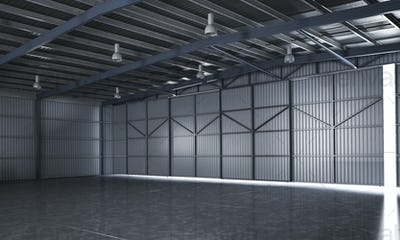 3d rendering beautiful empty metal storage warehouse