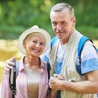 Happy senior hikers outdoors