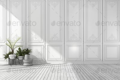 3d rendering empty white classic room with nice wall panel and plant and wood floor
