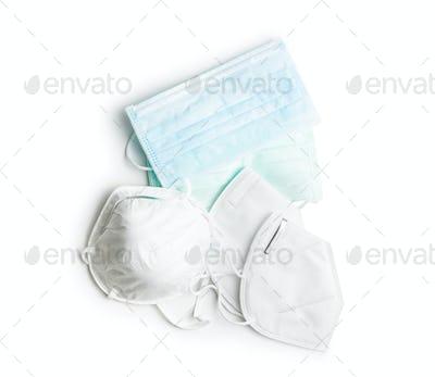 Three different protection face masks. Coronavirus prevention.