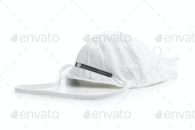 Kn95 protection mask. White respirator.