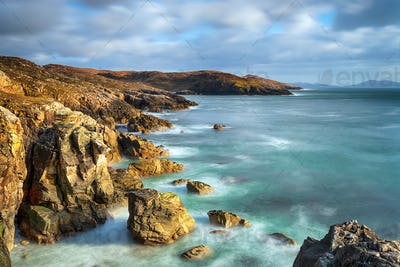 A long exposure of the rocky cliffs at Hushinish on the isle of Harris coast
