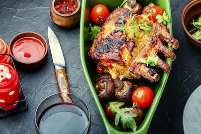Pork rack with vegetables.