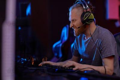 Man enjoying the computer game