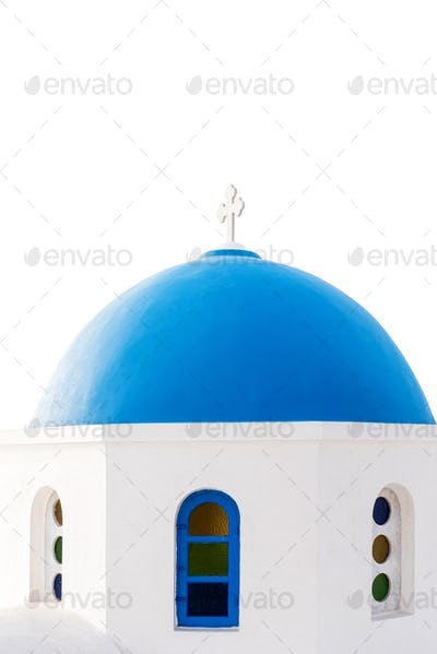 Blue dome of an Orthodox Church at sunrise in Santorini, Greece