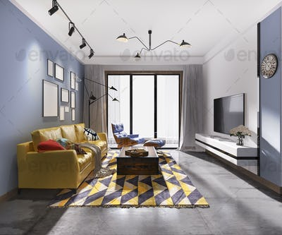 3d rendering european and colorful living room with yellow soda