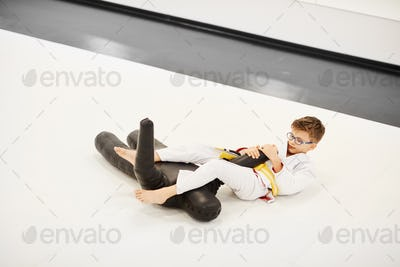Boy learning to fight