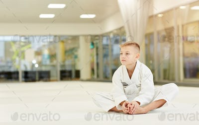 Boy resting after sports training
