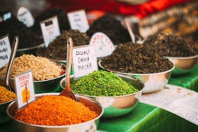 Canacona, Goa, India. Close View Of Coconut Green Masala And Masala Curry, Bright Green And Orange