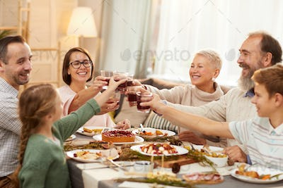 Family toasting with wine