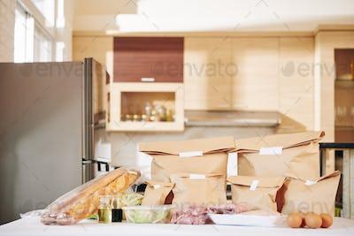 Delivered food on kitchen counter