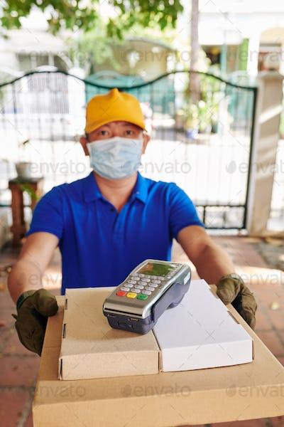 Courier delivering food